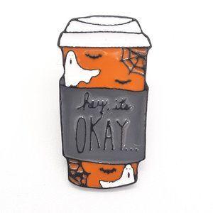 Halloween Coffee Cup Enamel Pin Badge Brooch
